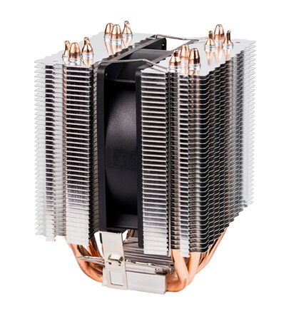 side view of noname tower-type cpu cooler with six copper heatpipes isolated on white background.