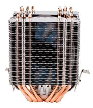 a front view of chinese noname tower-type cpu cooler with six copper heatpipes isolated on white background.
