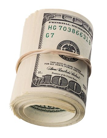 a roll of hundred us dollars laying on side isolated on white background Stock Photo