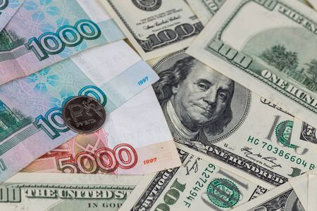 russian rubles and us dollars close-up background with selective focus Stok Fotoğraf