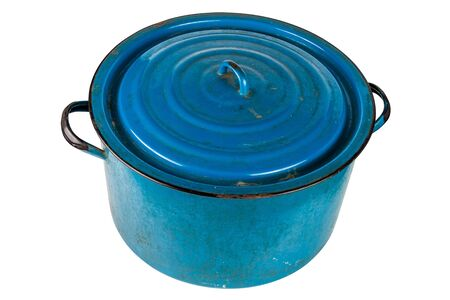 old large enameled blue pot with cover isolated on white background