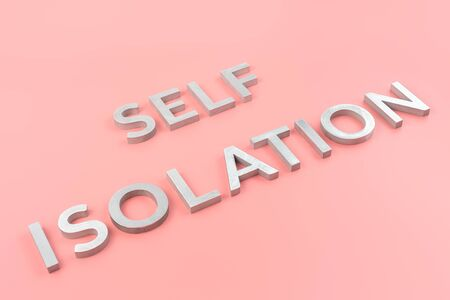 the words self isolation laid with silver metal letters on pink background with diagonal slanted perspective Banco de Imagens