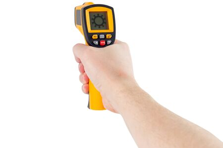 hand aiming with infrared contactless thermometer with coronavirus icon isolated on white background