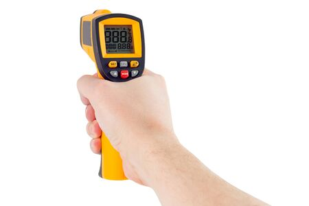 hand aiming with infrared contactless thermometer isolated on white background, mockup display state Stock Photo