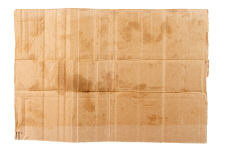 rectangular blank flat dirty sheet of cardboard - mockup for homeless placard, isolated on white background
