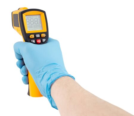 hand in blue medical latex glove aiming with infrared contactless thermometer isolated on white background, mockup display state with all on