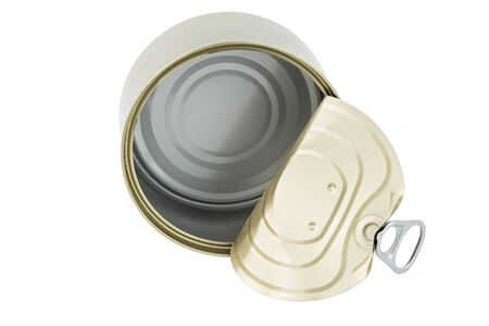 opened clean tin can with pull tab ring, bended lid and empty - isolated on white, top-down view
