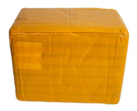 cardboard parcel box whole wrapped with yellow sticky tape isolated on white background