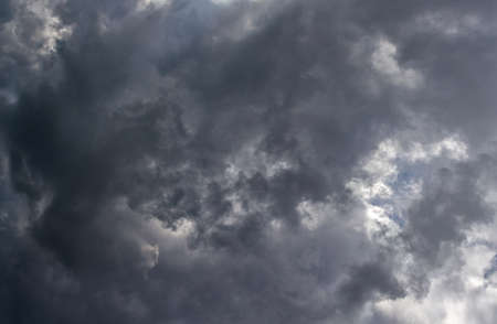 Grey summer storm clouds background. Zenith view from ground surface.