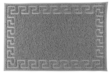 gray synthetic rubber hair welcome mat carpet in flat lay perspective, isolated