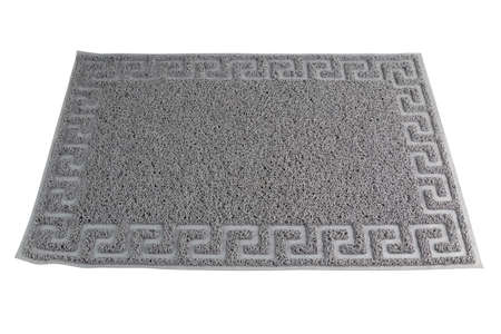 gray synthetic rubber hair welcome mat carpet in linear perspective, isolated