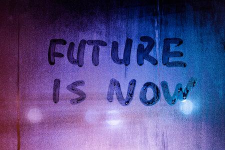 words future is now handwritten on night foggy window glass surface Stok Fotoğraf