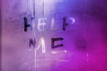 words help me handwritten on night wet window glass with purple and pink color gradient