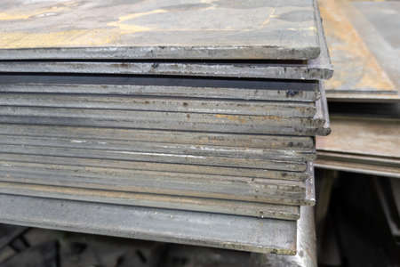 thick hot rolled steel sheets stack corner, close-up