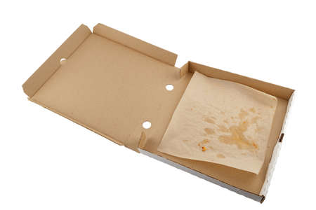 empty eaten opened pizza box isolated on white background