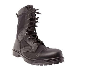 new black lightweight military boot isolated on white background, one on another
