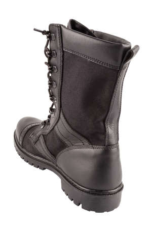 one new black lightweight military boot isolated on white background, standing vertically, view from back