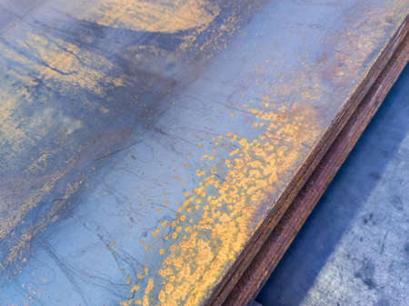 stack of rusted sheet metal - close-up with selective focus Stock Photo