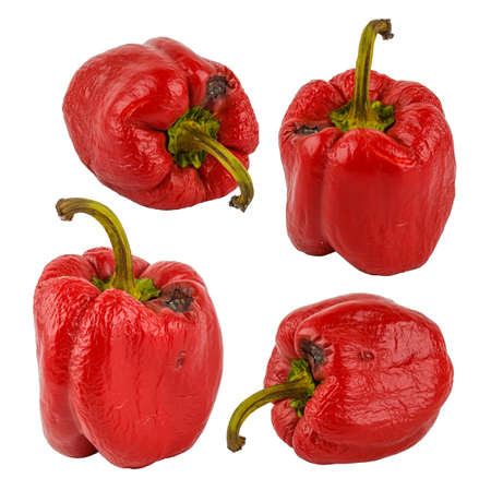 set of rotten red bell peppers isolated on white background