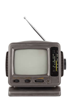 old 5.5 inch protable analog crt tv unit isolated on white, front view