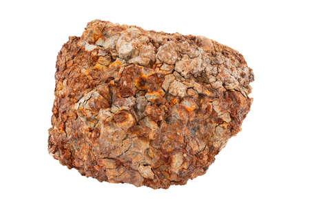 large piece of metallurgical ferrous iron stone ore isolated on whie background Stock Photo