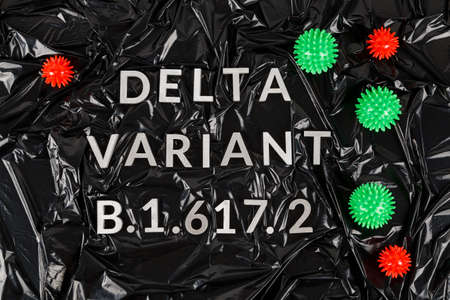 words delta variant B.1.617 laid with silver metal letters on crumpled black plastic bag background in diagonal perspective