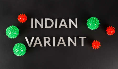 words indian variant laid with silver metal letters on flat matte black surface with small virus models Stock Photo