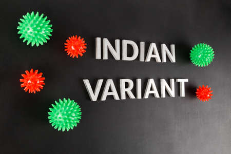 words indian variant laid with silver metal letters on flat matte black surface with small virus models, slanted view Stock Photo