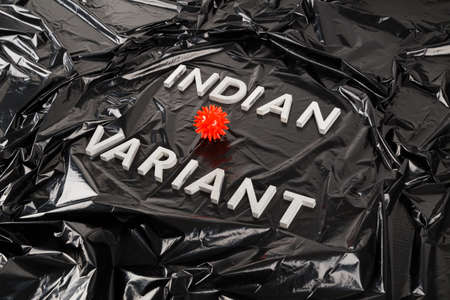words indian variant laid with silver metal letters on crumpled black plastic bag background with small virus model