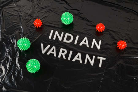 words indian variant laid with silver metal letters on crumpled black plastic bag background with small virus models Stock Photo