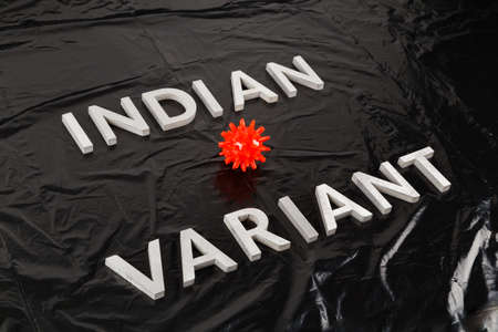 words indian variant laid with silver metal letters on crumpled black plastic bag background with small red virus model in diagonal perspective