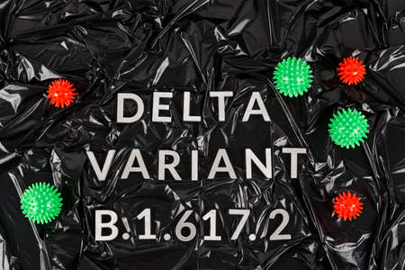 words delta variant B.1.617 laid with silver metal letters and red and green virus models on crumpled black plastic bag background in flat lay directly above perspective.