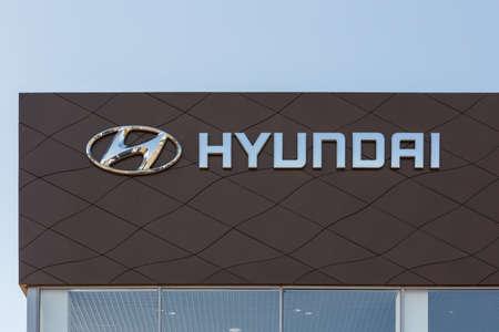 Hyundai logo on car dealership building - Hyundai is a South Korean multinational car manufacturer Sajtókép