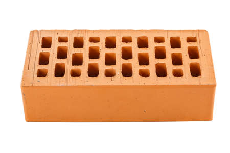 Perforated red brick isolated on white background