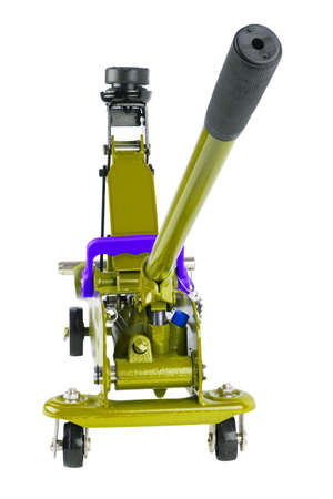 yellow hydraulic car jack isolated on white background, lifted up