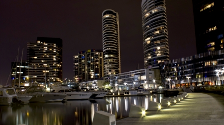 clear water: Cityscape Yachts pier , port harbour night , building , clear water , boat , refection, Docklands , melbourne