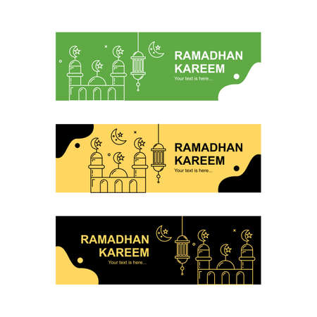 Landscape ramadhan banner collection. Easy to edit with vector file. Can use for your creative content. Especially about ramadhan month celebration.