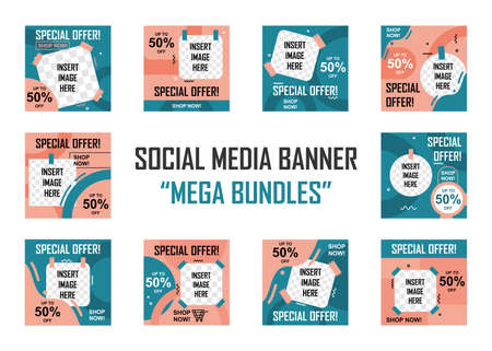 Social media banner mega bundles set. Easy to edit with vector file. Can use for your creative content. Especially for marketing and social media post.