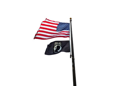 American and POW flags flying on display with a white background.