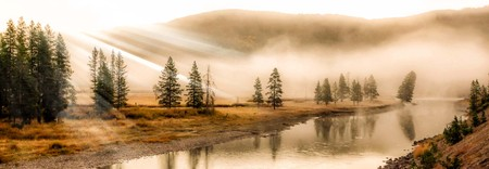 Early morning mist over a river in Yellowstone National Park.