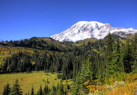 Clear day in early fall on Mt. Rainier. Stock Photo