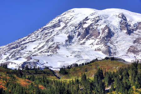 Close-up of Mt. Rainier on a clear autum day.