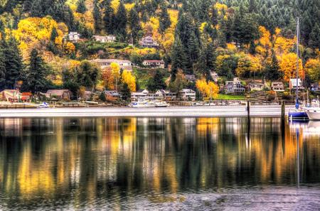 Autumn reflections  in Gig Harbor, Washington.