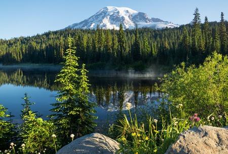 Mt. Rainier Reflection lake Фото со стока