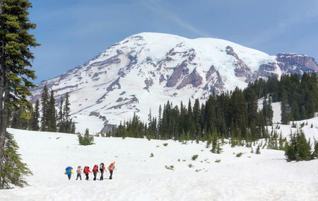Six hikers on Mt. Rainier on a clear day. 15 June, 2013