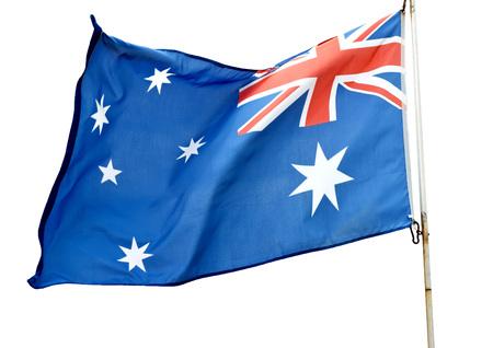 Australian flag flying on a white background.