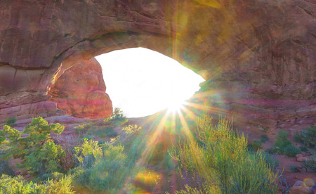 Sunrise at North Window arch, Arches National Park