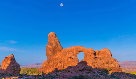 Moon over Turret Arch,   Arches National Park.
