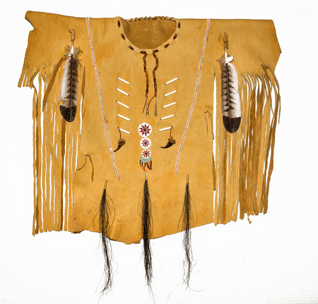 Leather Native American Shirt with beads, feathers, Bear claws and fringes.