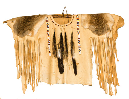 Leather Native American Shirt with beads, feathers, rabbit pelts and fringes.